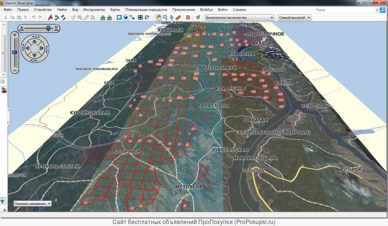 Балаганское лесничество квартальная 3D карта для ПК и навигаторов