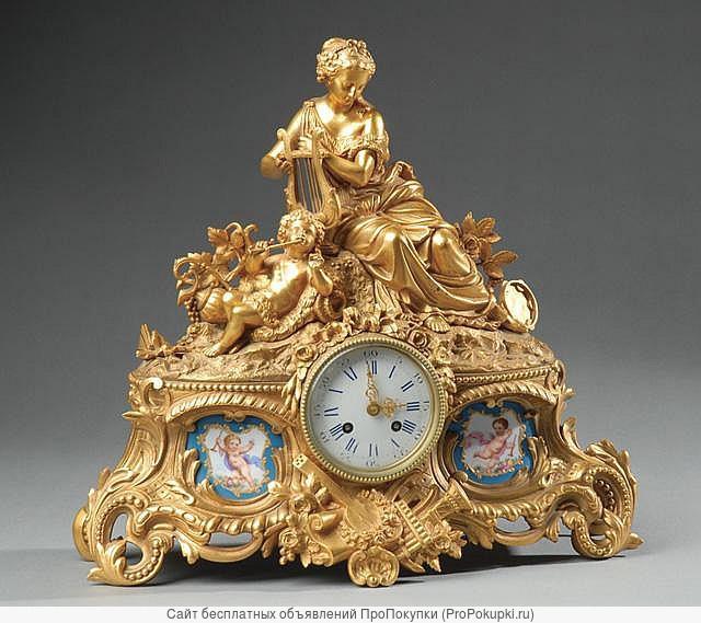 Куплю антикварное чугунное литьё, бронзу, часы, фарфор