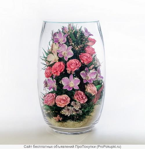 Композиции из живых роз и орхидей на всю зиму