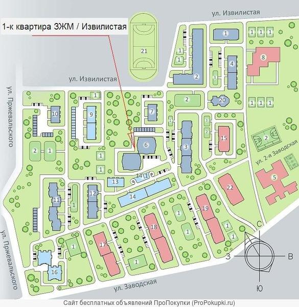 1-к квартира ЗЖМ / Извилистая