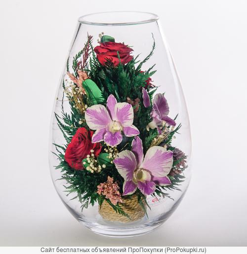 Живые розы , орхидеи , герберы стабилизированные в вакууме
