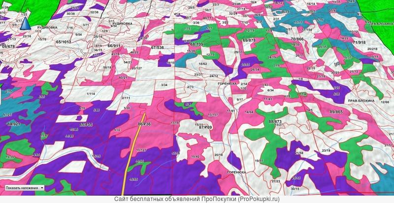Квартальная сетка лесов (выдела) 3D карта для ПК и Garmin
