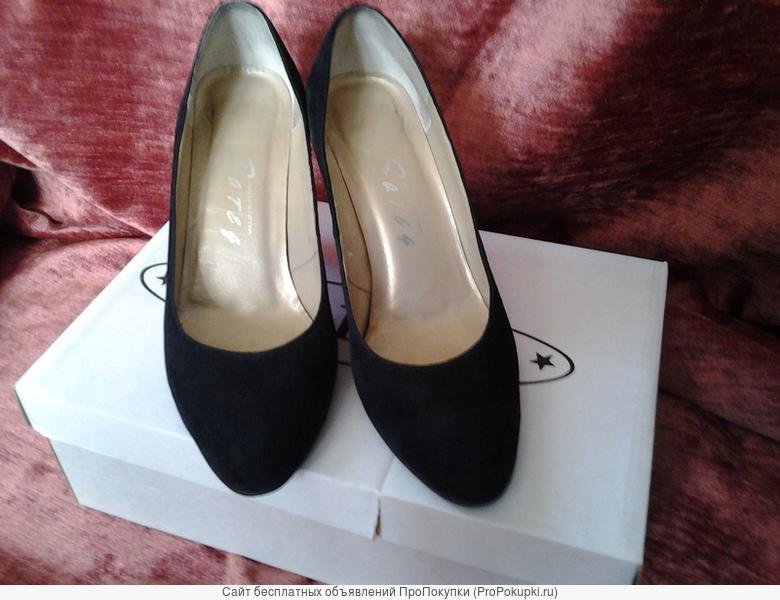 Туфли нат.замша, черные