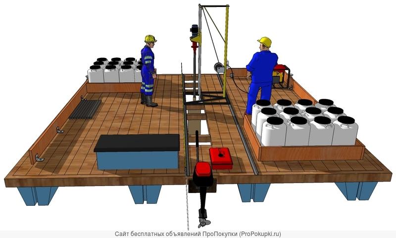 Плавучее устройство добычи лечебной грязи с глубины до 25 м