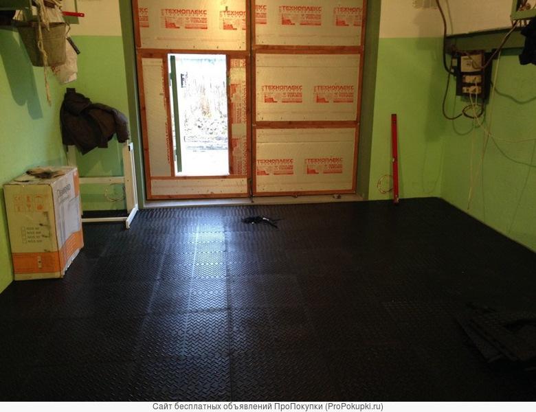 Плитка из цельной резины для укладки на стяжку в гараже