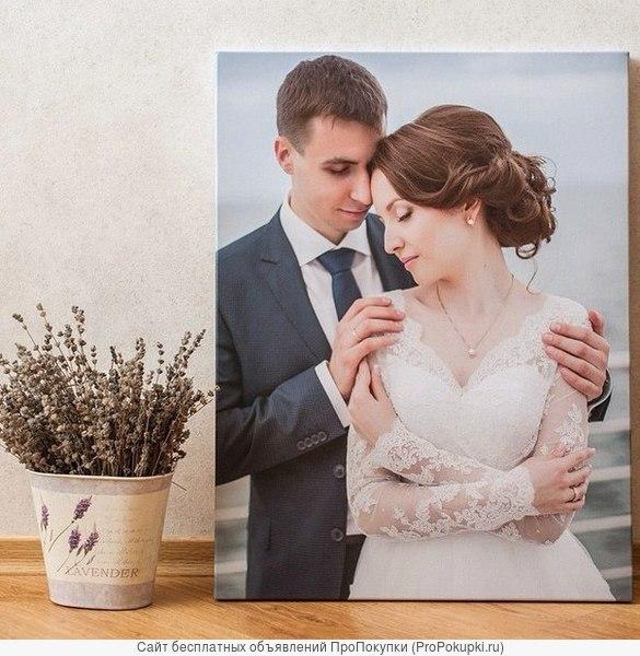 Печать свадебных фотографий на холсте