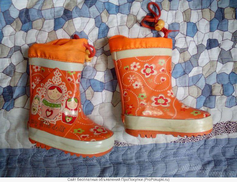 Продам сапожки для девочки, резиновые утепленные