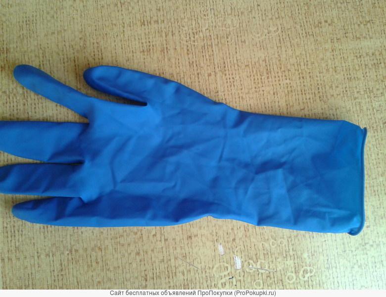 Перчатки латексные синие
