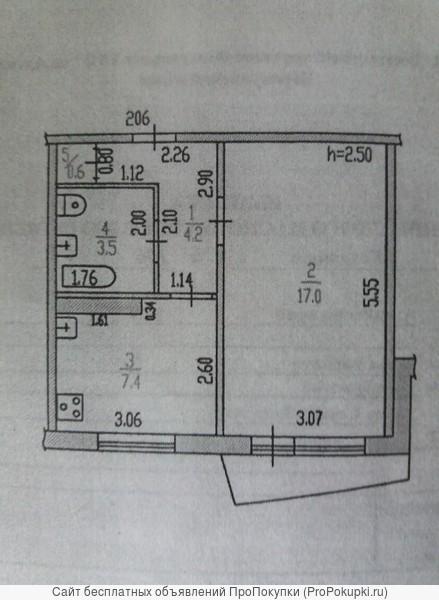 Продам 1-к квартиру, 33 м2, 7/9 этаж. По ул. Северо-Западная дом 62