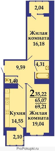 2-комн. квартирf в новостройке, 69 м²