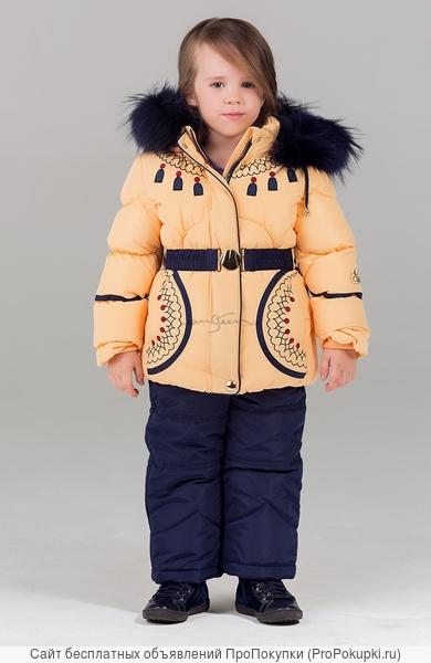 Bilemi Зимний костюм на девочку био-пух 316580 желтый | кремовый