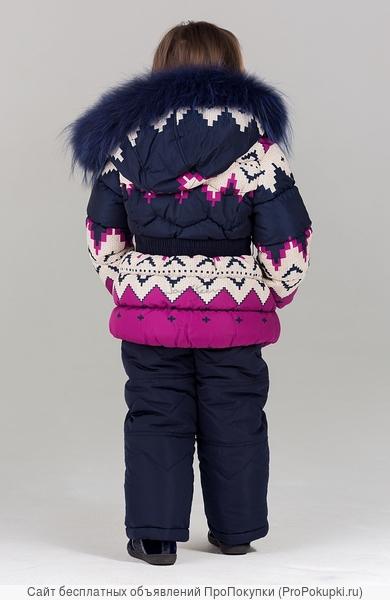 Bilemi Зимний костюм на девочку био-пух 316586 молочный | малиновый