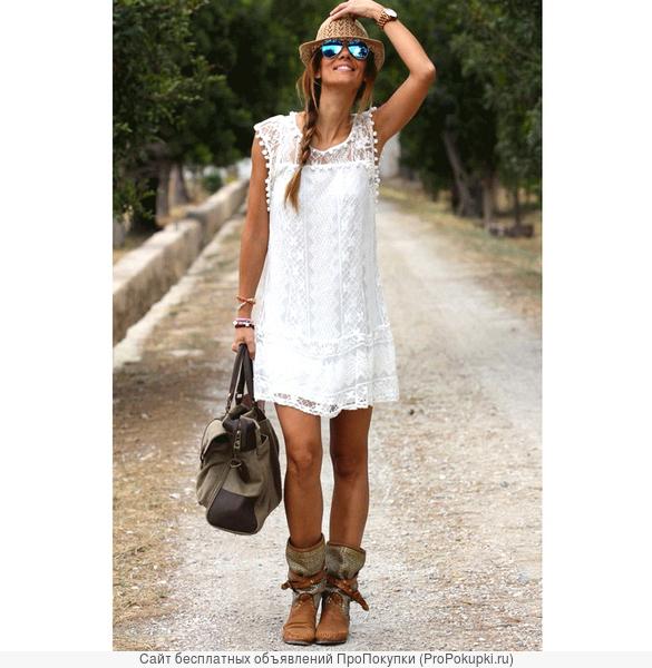 Платье кружевное без рукавов