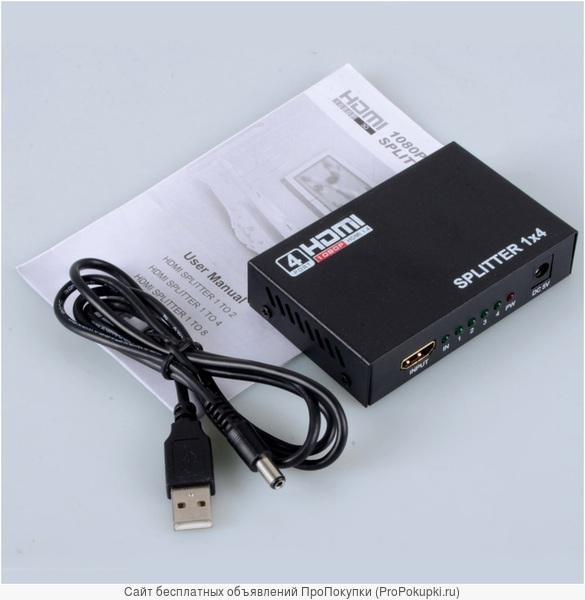 Аренда, прокат в Томске: Сплиттер HDMI 1 x 4 (с 1 входа на 4 выхода)