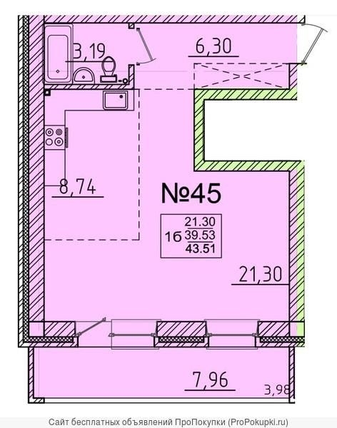 Продам 1-комнатную квартиру 43,5 м2 в Березовом