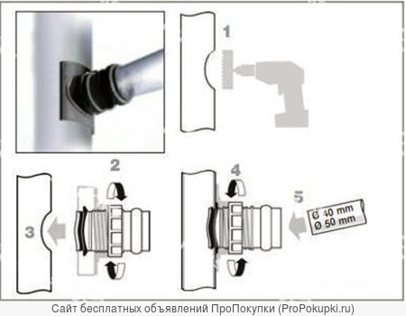 Врезка 50мм в канализацию 100-110 мм