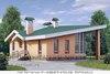 Одноэтажный кирпичный дом с углом, срезанным полукругом