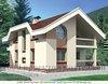 Дом с мансардой из кирпича в стиле модерн с круглыми окнами