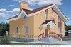 Двухэтажный кирпичный дом 10 на 9 м с окнами разных форм