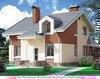 Двухэтажный кирпичный дом в стиле модерн с асимметричной крышей