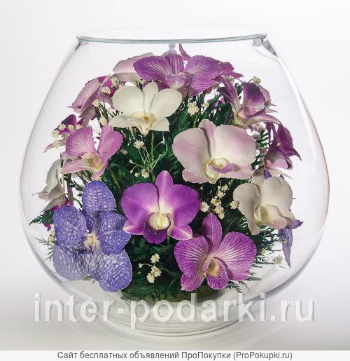Оптовая продажа интерьерных композиций из живых цветов в стекле