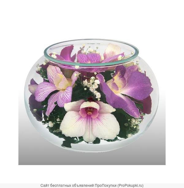 Натуральные цветы в вакуумных вазах. Срок хранения до 5 лет !!!