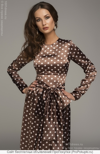 Платье в горошек длины макси