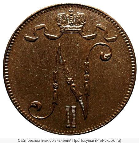 Редкая, медная монета 5 пенни 1917 года