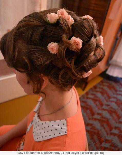 Свадебные,вечерние причёски,профессиональный макияж с выездом на дом