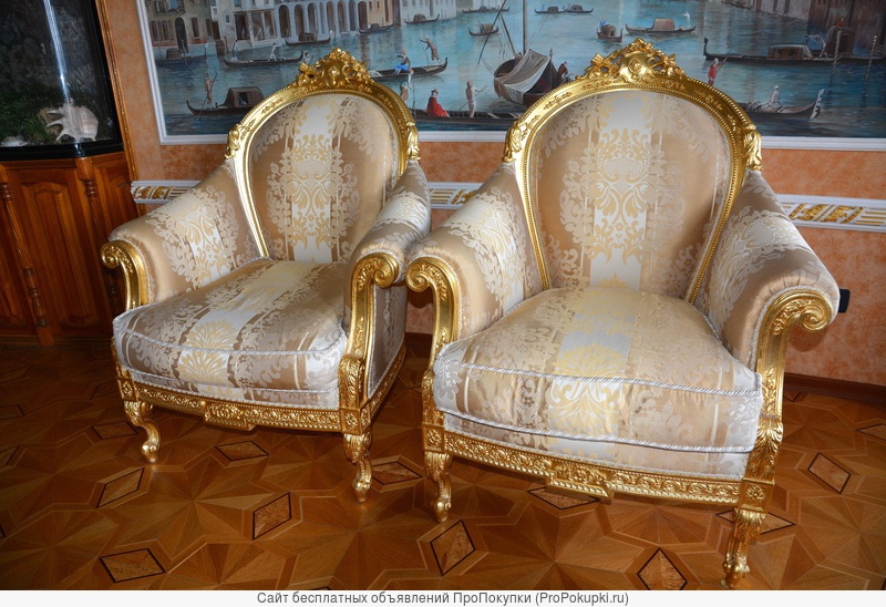 Два кресла в королевском стиле сусальное золото, фабрикаTurri Otello