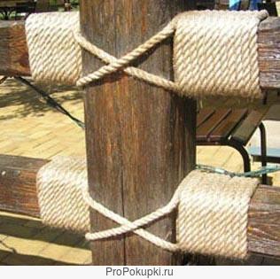 Веревка (канат, шнур) джутовая 14 мм межвецовая для дома и бани