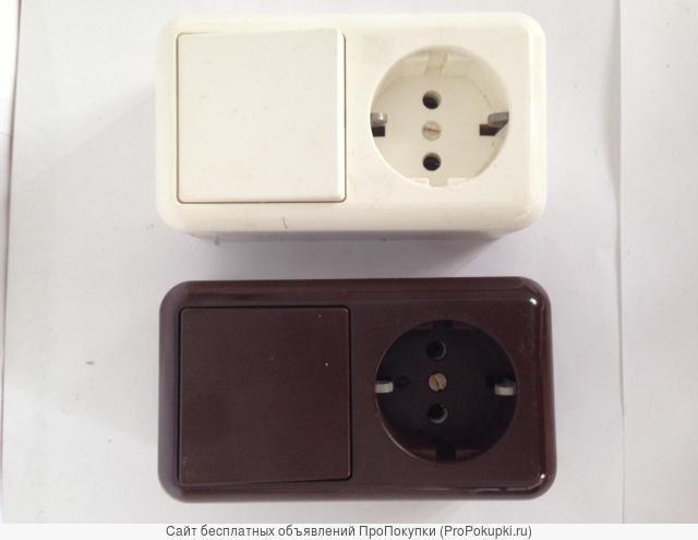 Блок выключатель с розеткой (евро) оп
