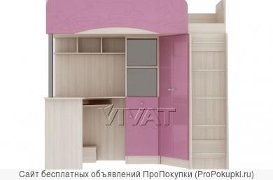 Комплект мебели для детской Бэмби-4М МДФ Розовый металлик 2,03м