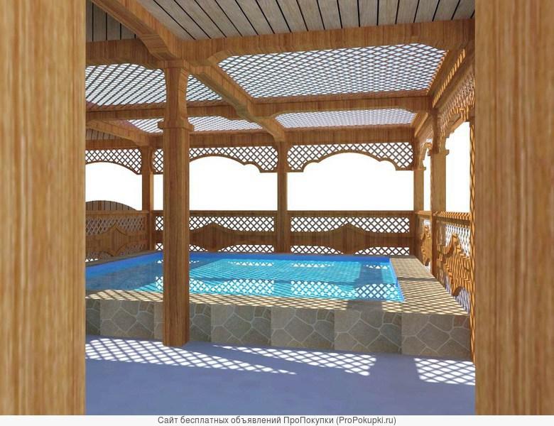 Беседки с мангалом и с бассейном.