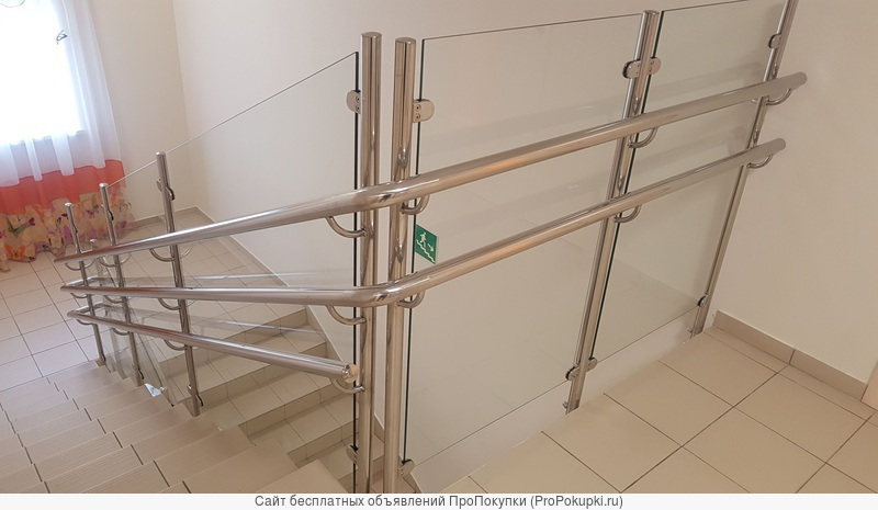 Лестничные ограждения, перила. инвалидные поручни из нержавеющей стали и стекла