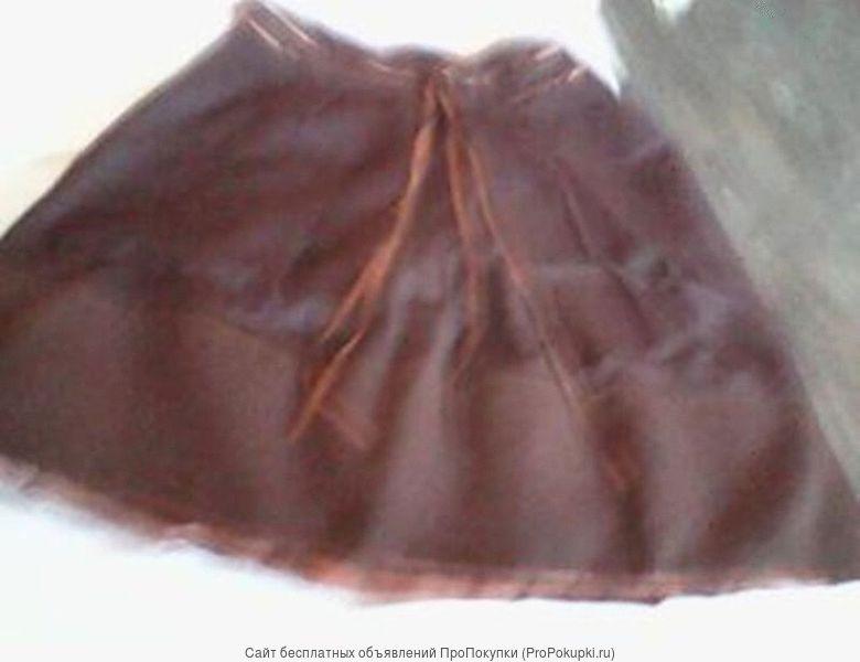 юбка школьная шерстяная коричневого цвета размер 40-42