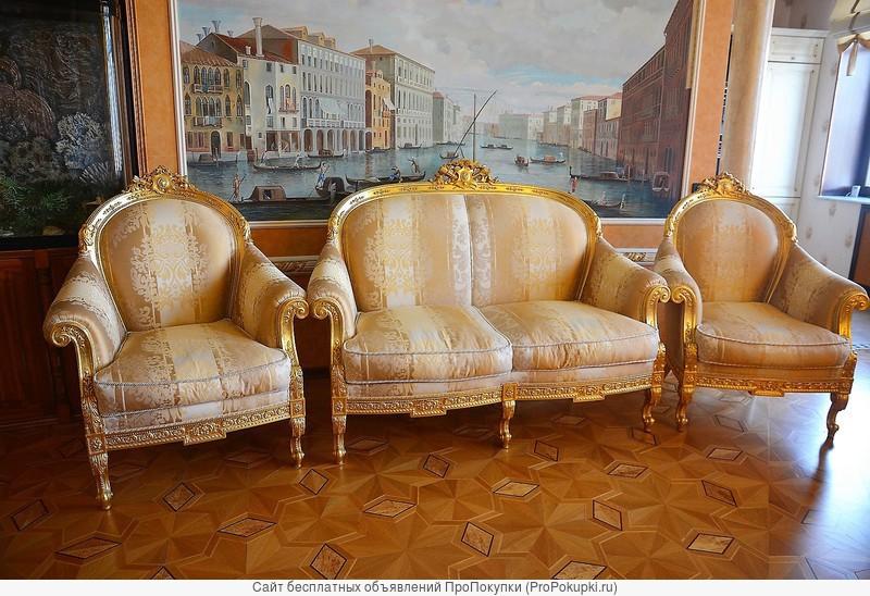 Диван 2 кресла и журнальный столик Turri Otello сусальное золото