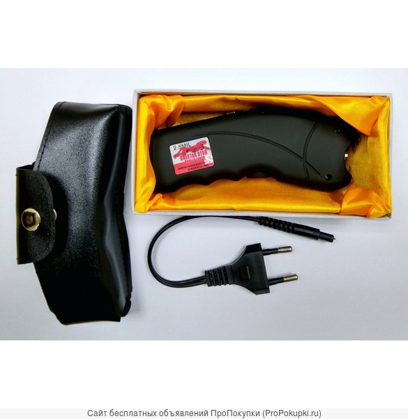 Компактный мощный шокер Гепард с фонариком в подарочной коробке