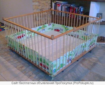 Большой детский деревянный манеж 1,6х1,6м с калиткой