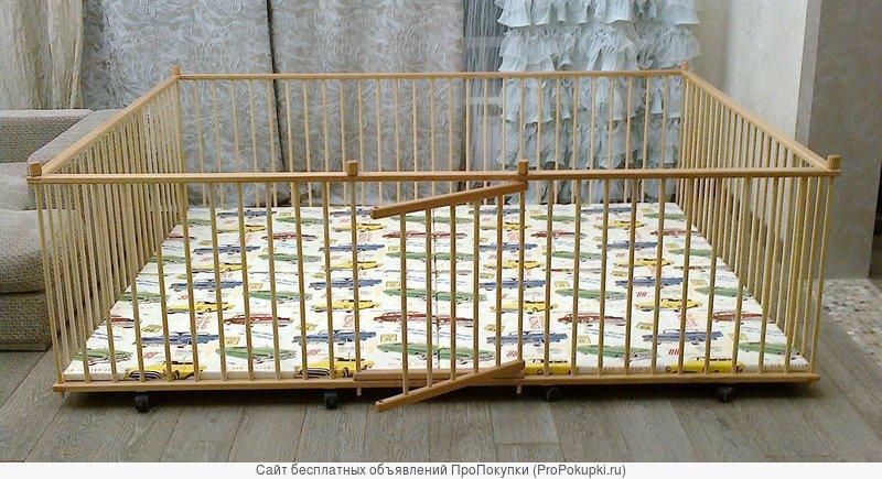 Манеж детский самый большой деревянный 2.0х2.5м для двойни с калиткой
