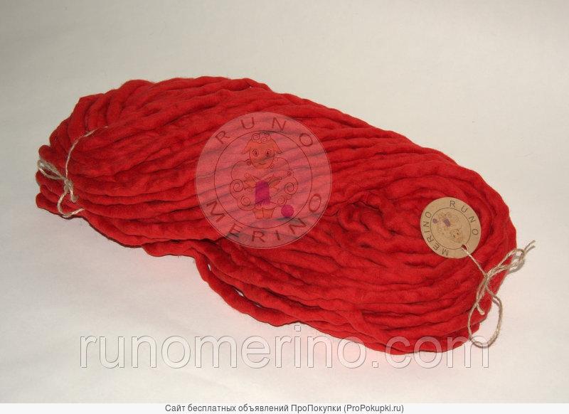 Толстая пряжа ручного прядения цвет №6 Рубин