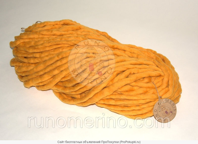 Толстая пряжа ручного прядения цвет №13 Груша