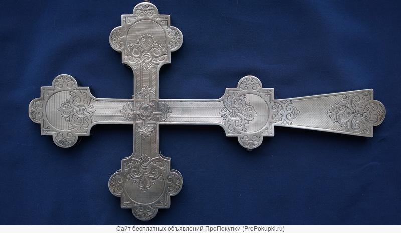 Старинный напрестольный крест. Серебро
