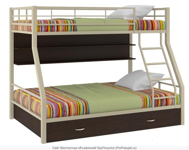 Двухъярусная кровать с лестницей Гранада-1 бежевого цвета