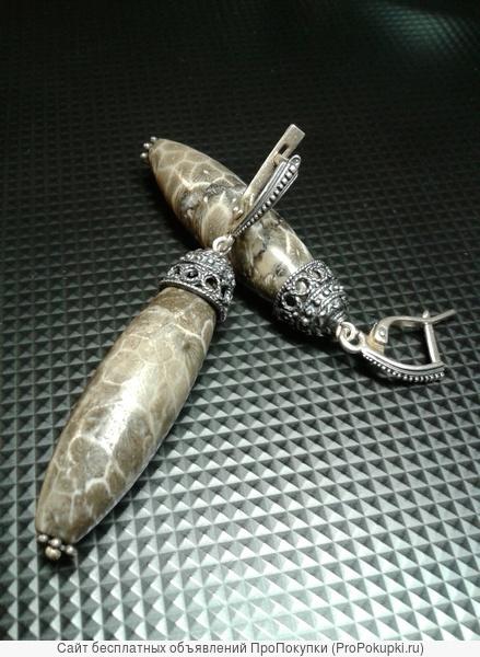 Серьги Серебро с натуральным камнем