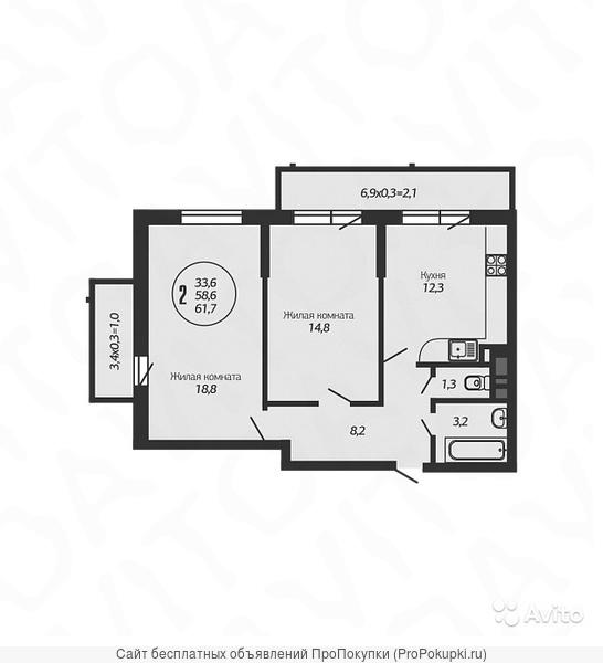 2-комн. квартира, 63 м²
