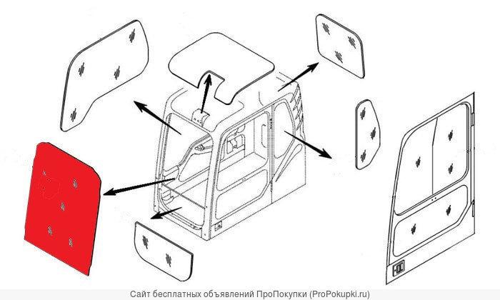 Стекло лобовое верхнее (триплекс) Hyundai 71EH-10851 R130-R450 серия 3