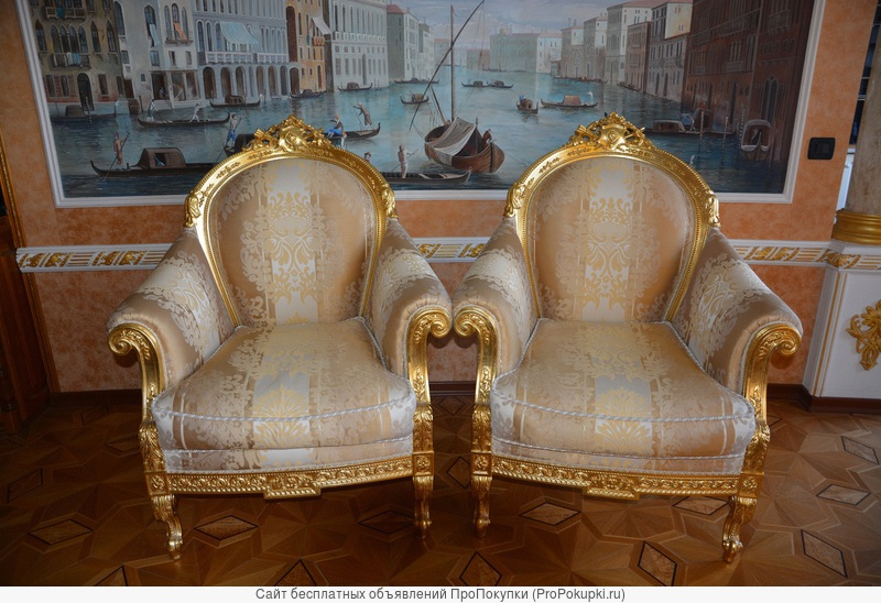 Два кресла в королевском стиле и в золоте, фабрикаTurri Otello