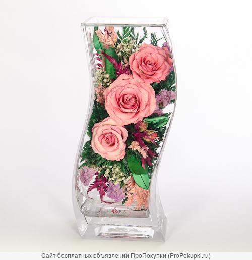 Живые цветы в вакуумных вазах